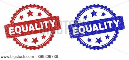 Rosette Equality Seal Stamps. Flat Vector Scratched Seal Stamps With Equality Phrase Inside Rosette
