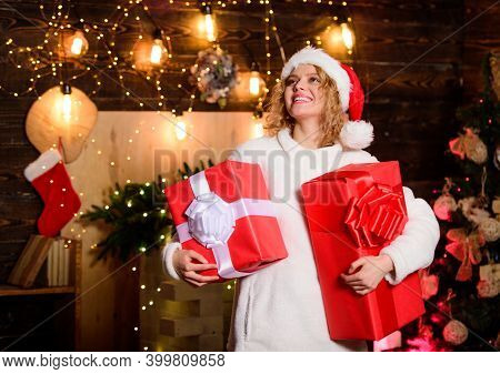 Time To Please. Winter Holidays And Vacation. Christmas Shopping. Girl With Gift Box. Woman And Chri