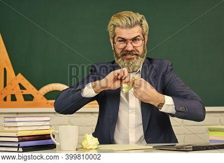 Destroy Profile Documents. Teacher Destroying Paper File. Study Hard. Get Free Education. School Edu