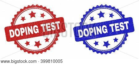 Rosette Doping Test Stamps. Flat Vector Distress Seal Stamps With Doping Test Phrase Inside Rosette