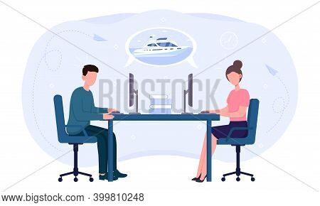 Two Office Workers Dreaming Of A Vacation. Overworked Male And Female Characters Business People Sit