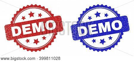 Rosette Demo Stamps. Flat Vector Scratched Stamps With Demo Title Inside Rosette With Stars, In Blue
