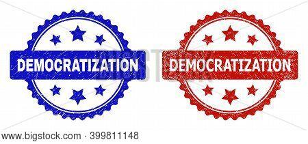 Rosette Democratization Seal Stamps. Flat Vector Textured Seal Stamps With Democratization Caption I