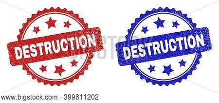 Rosette Destruction Seal Stamps. Flat Vector Distress Seal Stamps With Destruction Message Inside Ro