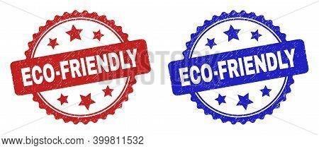 Rosette Eco-friendly Watermarks. Flat Vector Textured Watermarks With Eco-friendly Caption Inside Ro