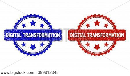 Rosette Digital Transformation Stamps. Flat Vector Grunge Seal Stamps With Digital Transformation Ti