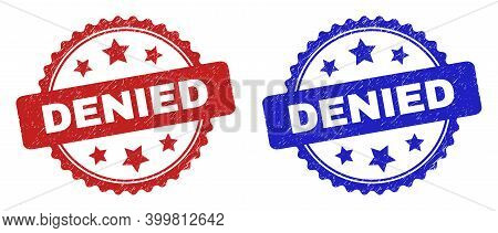 Rosette Denied Stamps. Flat Vector Distress Seal Stamps With Denied Title Inside Rosette With Stars,