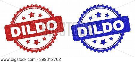 Rosette Dildo Seal Stamps. Flat Vector Scratched Seal Stamps With Dildo Text Inside Rosette With Sta