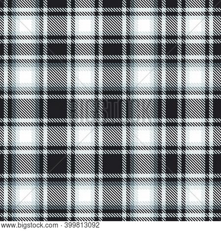 Black And White Ombre Plaid Textured Seamless Pattern