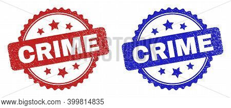 Rosette Crime Seal Stamps. Flat Vector Distress Seal Stamps With Crime Phrase Inside Rosette Shape W