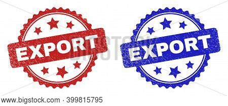 Rosette Export Seals. Flat Vector Grunge Watermarks With Export Caption Inside Rosette Shape With St