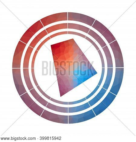 Rhode Island Badge. Bright Gradient Logo Of Us State In Low Poly Style. Multicolored Rhode Island Ro