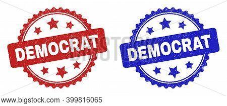 Rosette Democrat Stamps. Flat Vector Scratched Stamps With Democrat Caption Inside Rosette Shape Wit