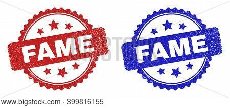Rosette Fame Watermarks. Flat Vector Distress Seals With Fame Caption Inside Rosette With Stars, In