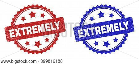 Rosette Extremely Seal Stamps. Flat Vector Grunge Seal Stamps With Extremely Phrase Inside Rosette W