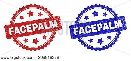 Rosette Facepalm Stamps. Flat Vector Grunge Watermarks With Facepalm Text Inside Rosette Shape With