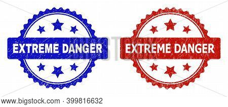 Rosette Extreme Danger Watermarks. Flat Vector Distress Watermarks With Extreme Danger Title Inside