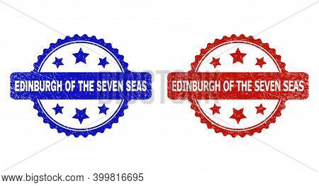 Rosette Edinburgh Of The Seven Seas Watermarks. Flat Vector Grunge Watermarks With Edinburgh Of The
