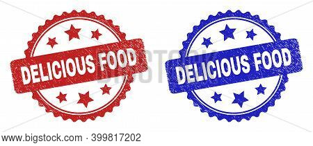 Rosette Delicious Food Seal Stamps. Flat Vector Textured Seal Stamps With Delicious Food Caption Ins