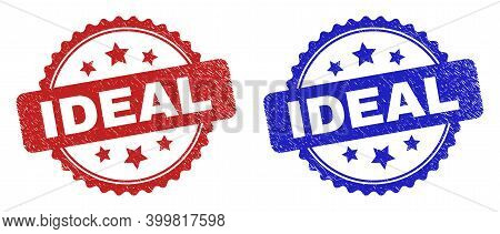 Rosette Ideal Seal Stamps. Flat Vector Textured Seal Stamps With Ideal Title Inside Rosette With Sta