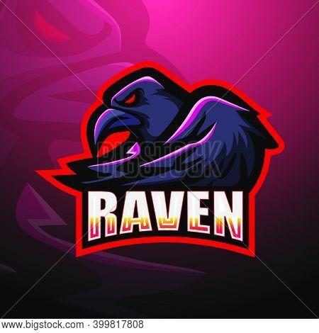 Vector Illustration Of Raven Esport Mascot Logo Design