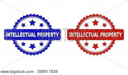 Rosette Intellectual Property Seal Stamps. Flat Vector Distress Seal Stamps With Intellectual Proper