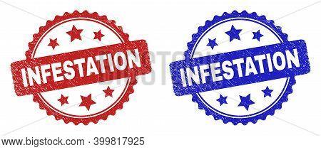 Rosette Infestation Seal Stamps. Flat Vector Distress Seal Stamps With Infestation Phrase Inside Ros