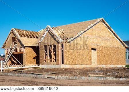 House Walls And Plywood Roof Wood Work Frame