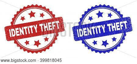 Rosette Identity Theft Watermarks. Flat Vector Grunge Seals With Identity Theft Text Inside Rosette