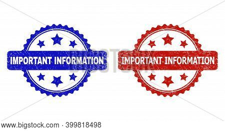 Rosette Important Information Seal Stamps. Flat Vector Scratched Seal Stamps With Important Informat