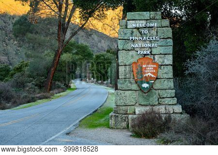 Pinnacles National Park, United States: February 2, 2019: Welcome To Pinnacles Stone Sign