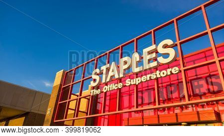 Novi, Michigan- November 12, 2020: Staples Inc. is an American office super store  selling primarily office and school supplies .