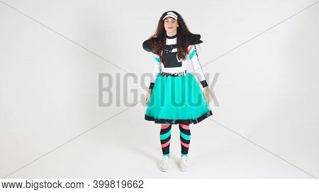 Moscow, Russia - December 6 2020: Portrait Of A Young Cute Girl In Beautiful Costumes Of Social Netw