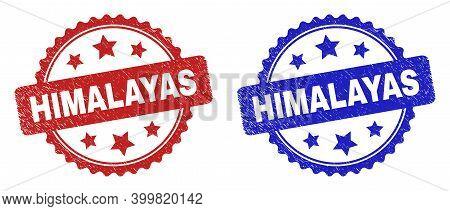 Rosette Himalayas Seal Stamps. Flat Vector Textured Seal Stamps With Himalayas Title Inside Rosette