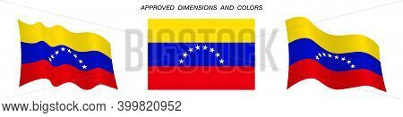 Venezuela Flag In Static Position And In Motion, Fluttering In Wind In Exact Colors And Sizes, On Wh
