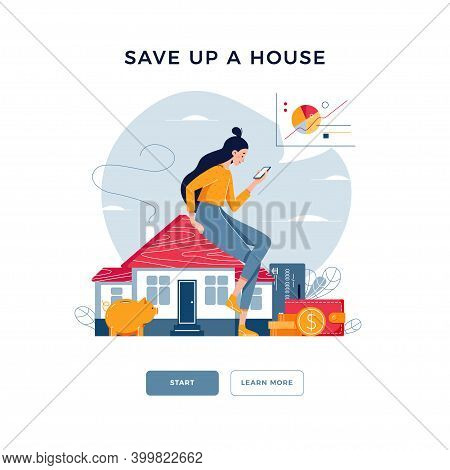 Save Up A House. Young Woman Sitting On The House, Analyzes Profit From Property Buying, Rent. Buy R