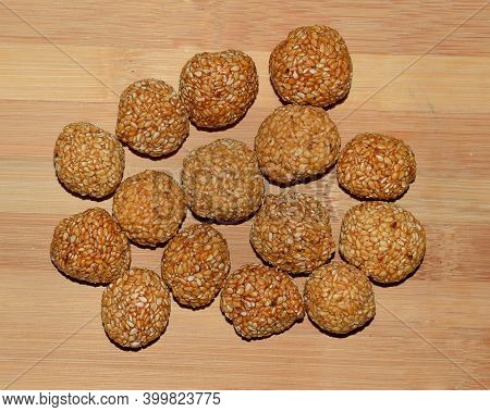 Top Angle Shot Of Sesame Seeds Laddoo An Indian Sweet Made With Jaggery
