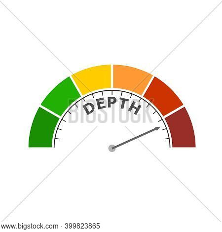 Color Scale With Arrow From Red To Green. The Measuring Device Icon. Depth Level Indicator. Colorful