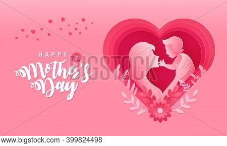 Happy Mother's Day. Greeting Card Illustration Of Mother And Baby Inside Paper Cut Pink Heart Shape.
