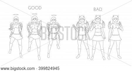 Angelic And Devilish Girls Cartoon Line Art. Angels And Demons Female Characters. Vector Illustratio