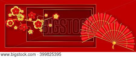 Oriental Holiday Lunar New Year. Traditional Red Hand Fans And Flowering Branch. Decor For Oriental