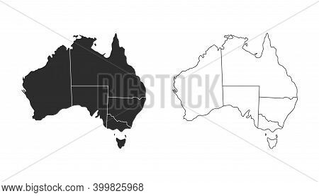 Australia Map, Australia Icon. Australia Symbol. Black On White Background, Vector Illustration