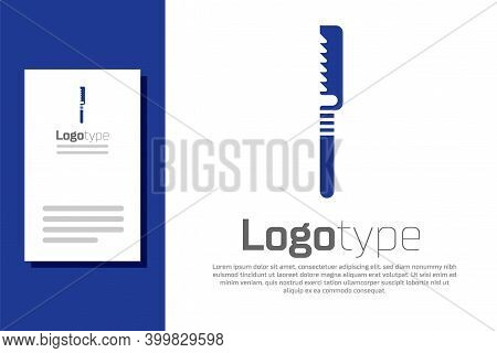 Blue Medical Saw Icon Isolated On White Background. Surgical Saw Designed For Bone Cutting Limb Ampu