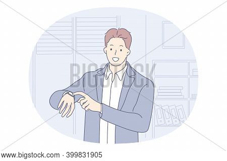 Time Management, Wristwatch, Being On Time Concept. Young Smiling Businessman Office Worker Standing