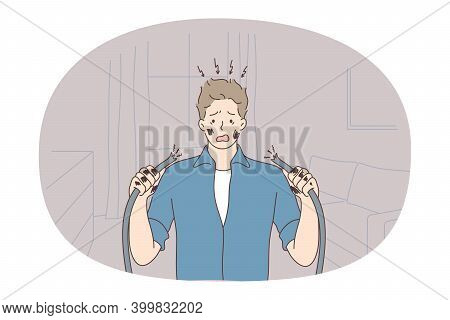 Nerves, Bad News, Mental Depression Concept. Young Unhappy Man Cartoon Character Standing With Broke