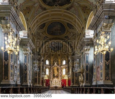 Brixen, Italy - October 5, 2020: Interior Of The Dom Cathedral Church Of Brixen With The Baroque Arc