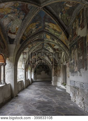 Brixen, Italy - October 5, 2020: Cloister With Paintings, Fresco, Of The Cathedral Of Brixen With Ro