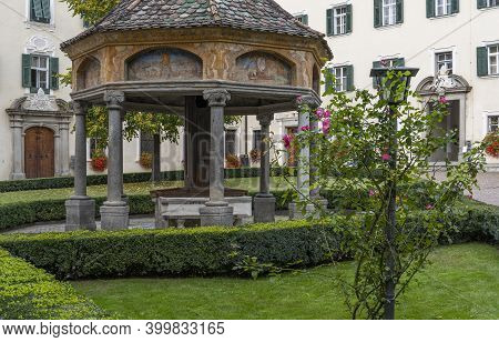 Brixen, Italy - October 9, 2020: Garden With Arbor In The Monastery Of Abbazia Di Novacella, Kloster