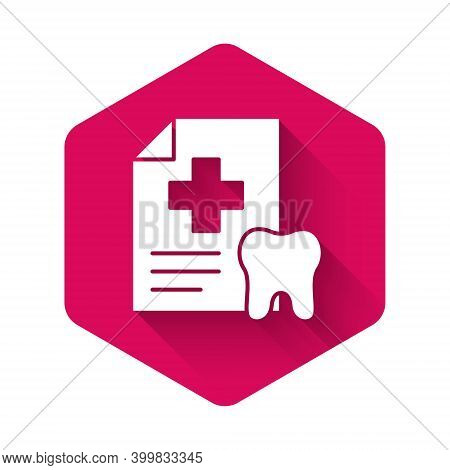 White Clipboard With Dental Card Or Patient Medical Records Icon Isolated With Long Shadow. Dental I