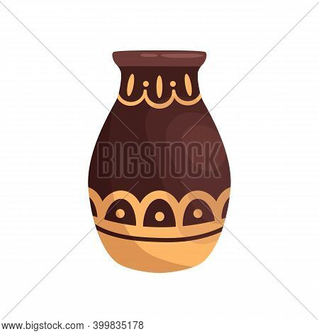 Ancient Ornamented Hellenic Amphora. Old Greek Clay Vase Decorated With Traditional Grecian Ornament